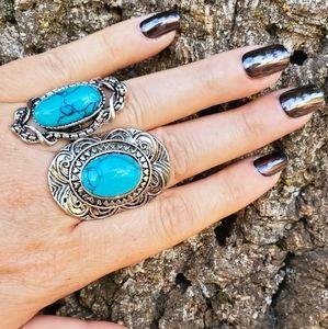 2 Turquoise Boho Silvertone Rings Adjustable #1